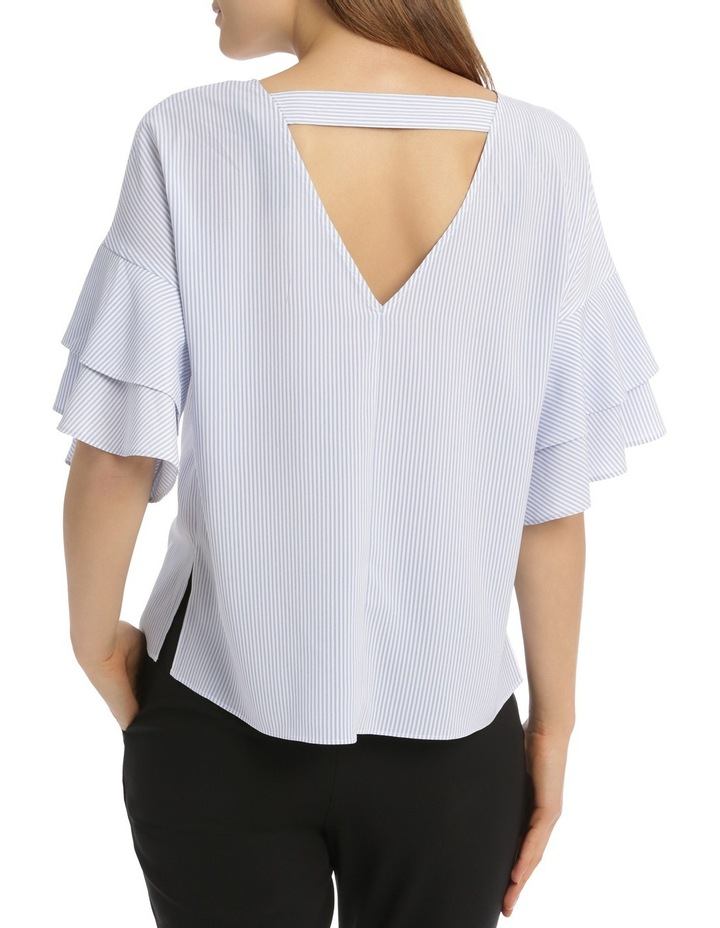 Drop Shoulder Frill Sleeve Top - Shirting Stripe image 3