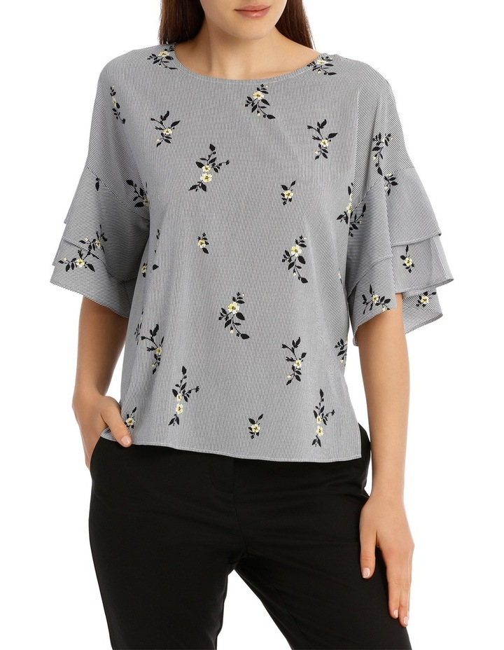Drop Shoulder Frill Sleeve Top - Stripe Floral image 1