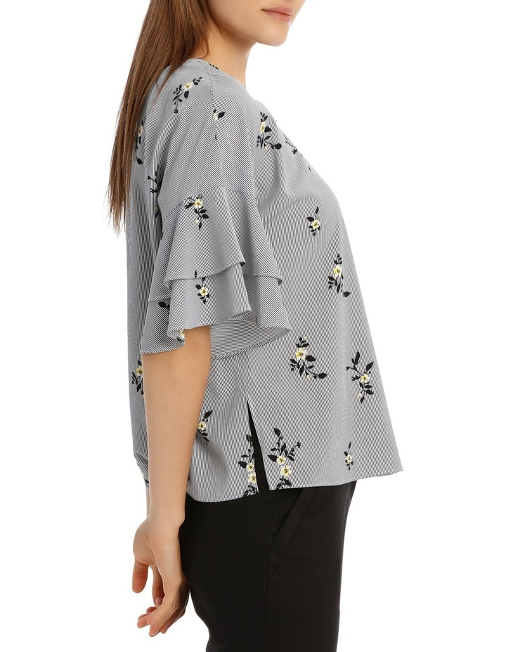 Drop Shoulder Frill Sleeve Top - Stripe Floral image 2