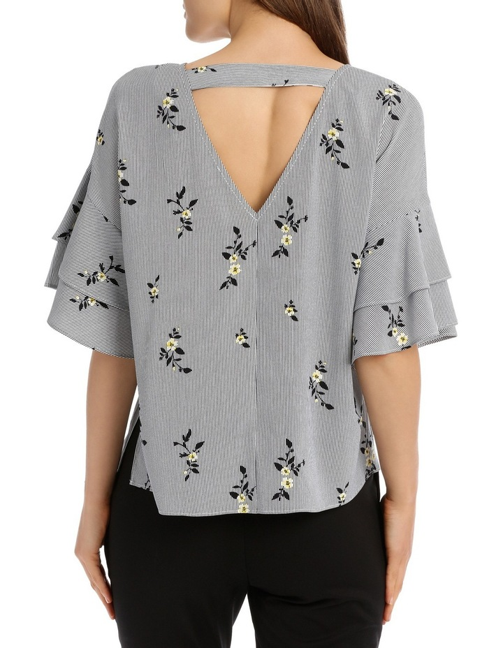 Drop Shoulder Frill Sleeve Top - Stripe Floral image 3