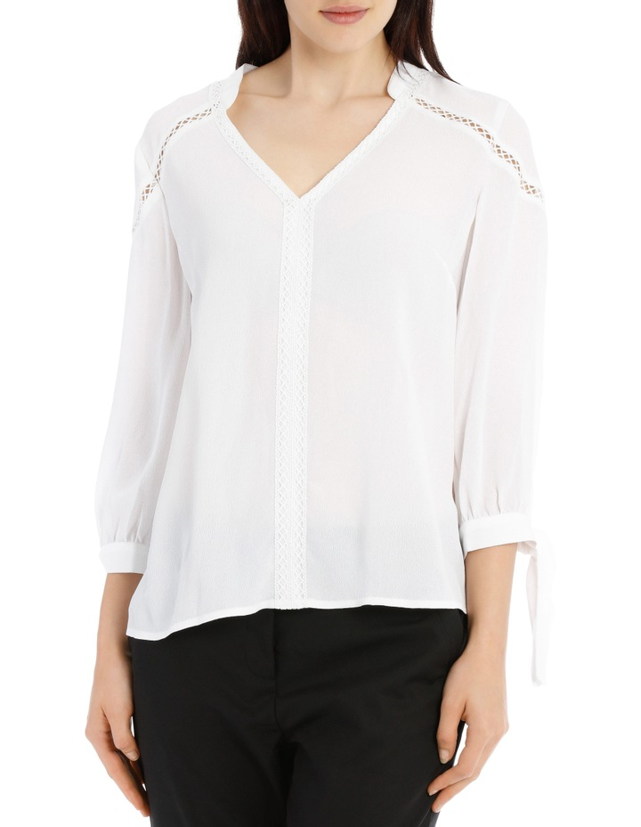 Lace Insert Top - White image 1