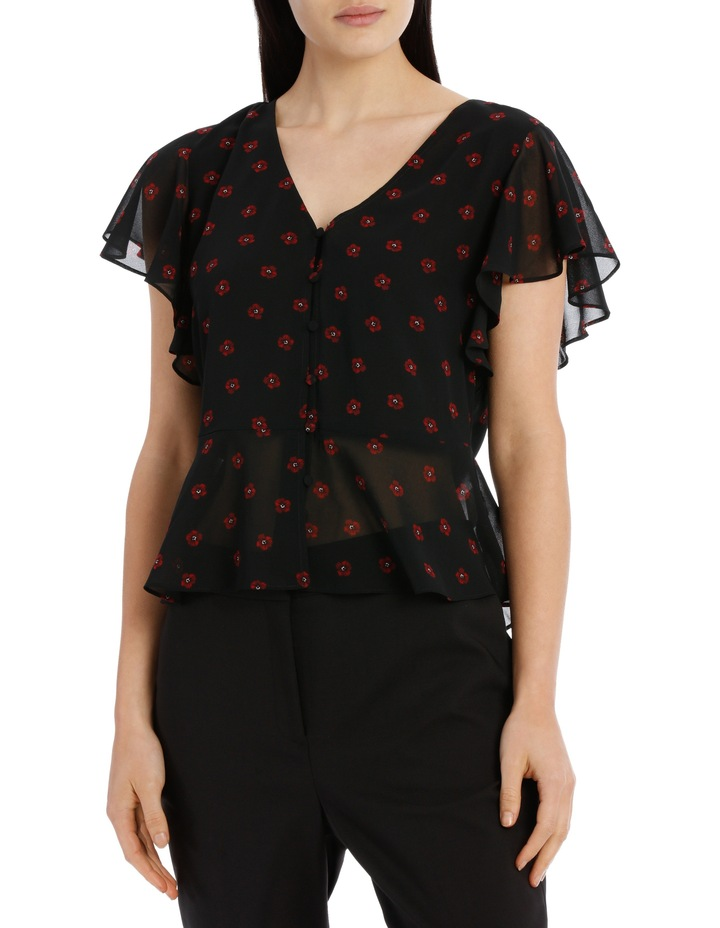 flutter sleeve button up blouse - poppy spot image 1