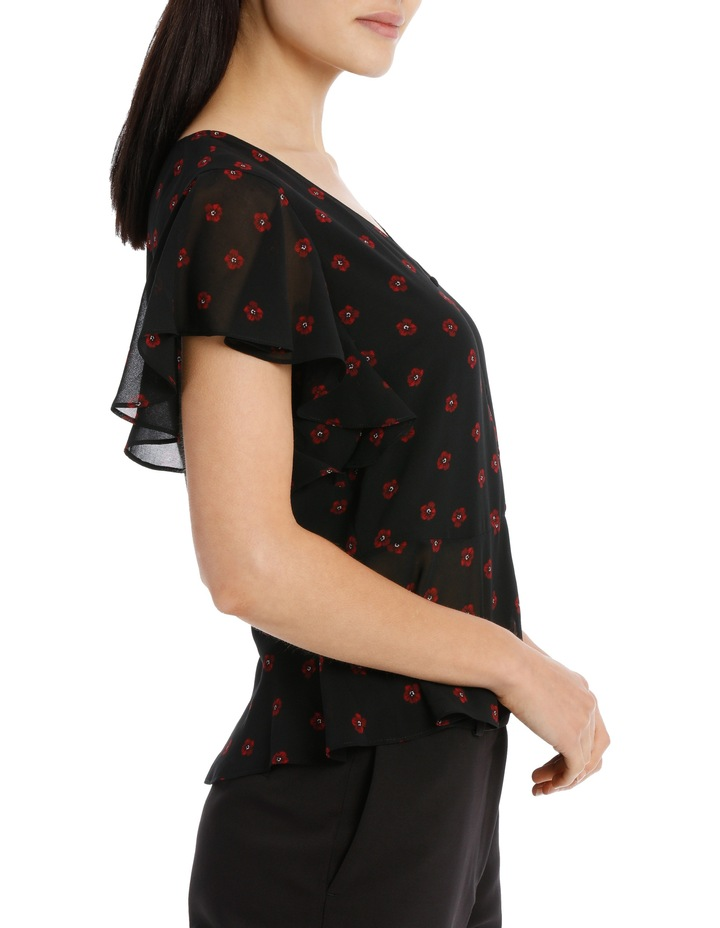 flutter sleeve button up blouse - poppy spot image 2