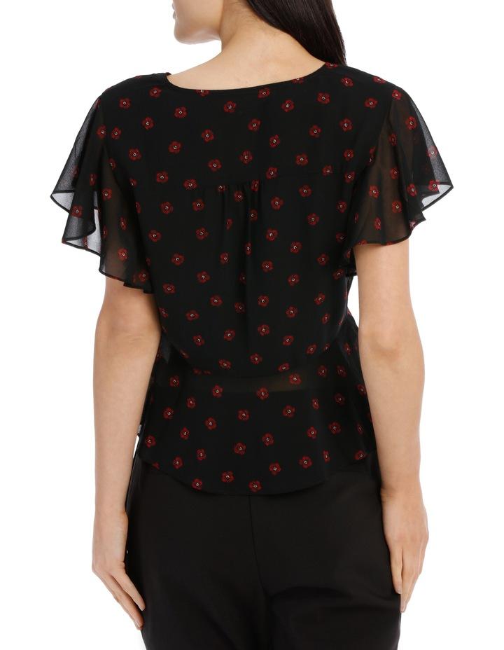 flutter sleeve button up blouse - poppy spot image 3