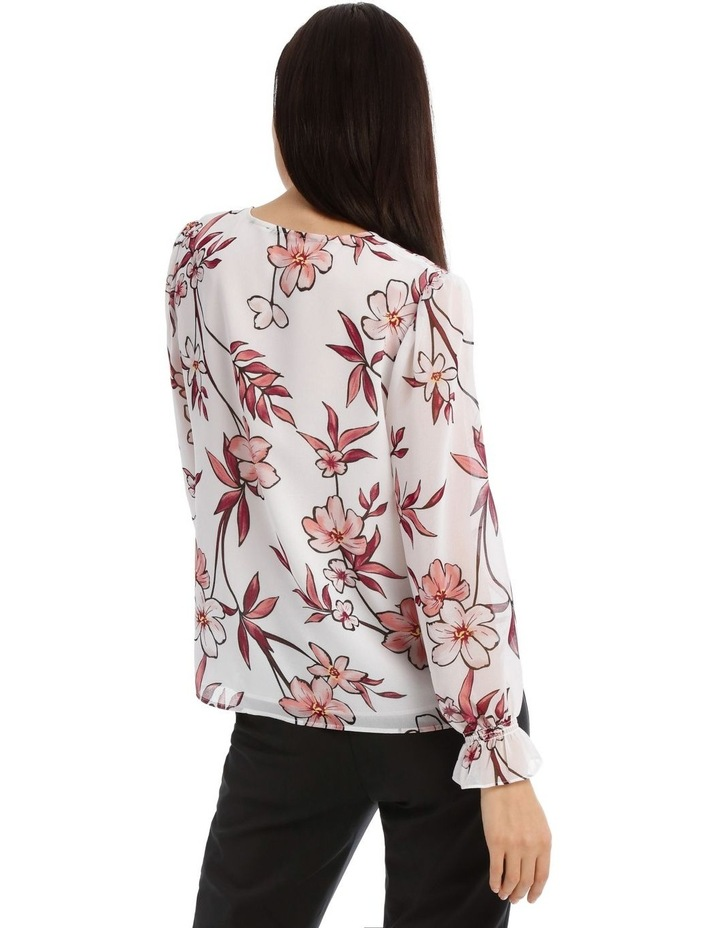 Painted Floral Button Up Sheer Sleeve Blouse image 3
