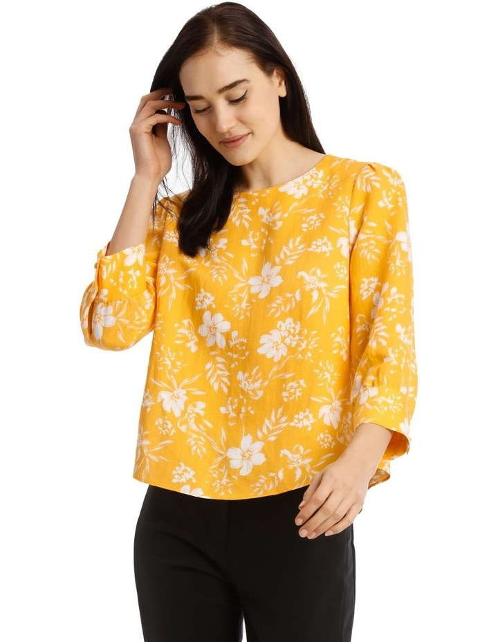 Linen Puff Sleeve Top - Tropical Floral image 1