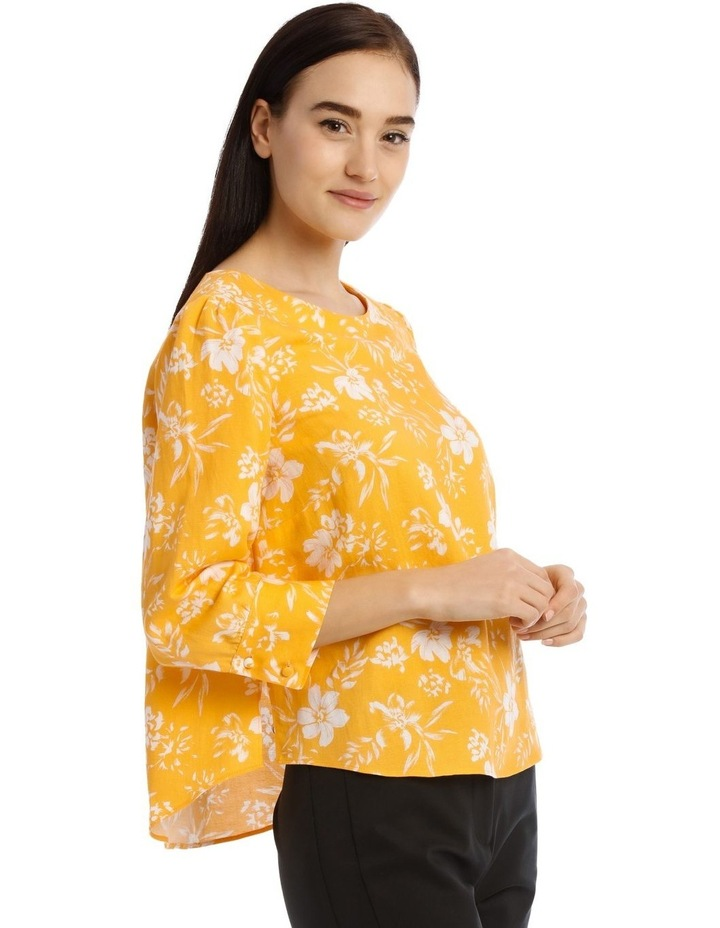 Linen Puff Sleeve Top - Tropical Floral image 2