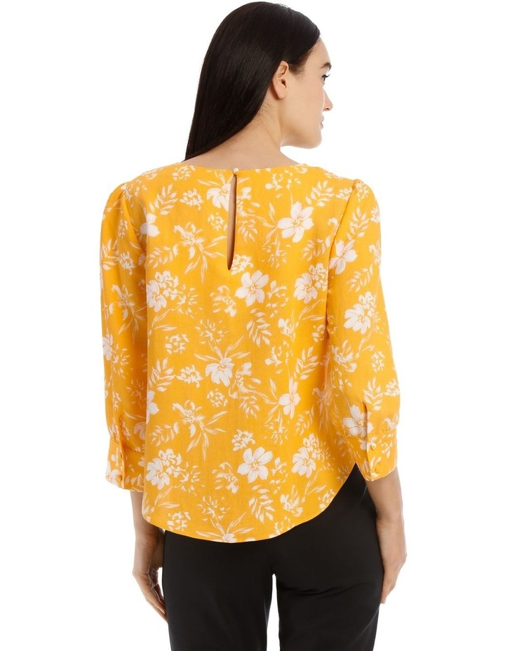 Linen Puff Sleeve Top - Tropical Floral image 3
