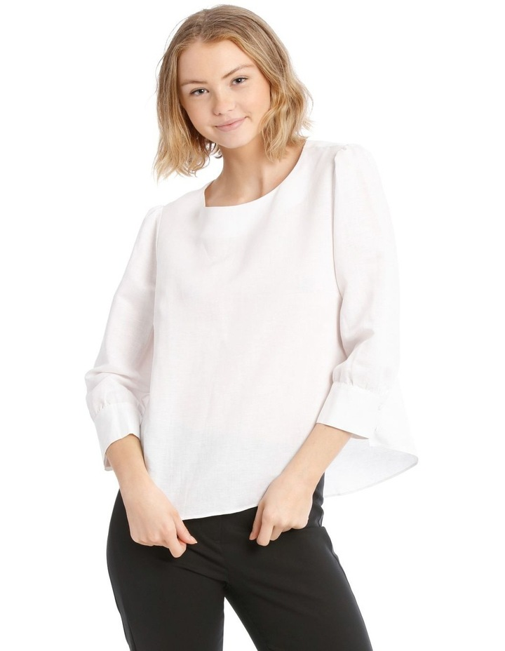 Linen Puff Sleeve Top - White image 1