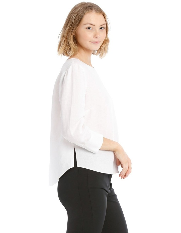Linen Puff Sleeve Top - White image 2