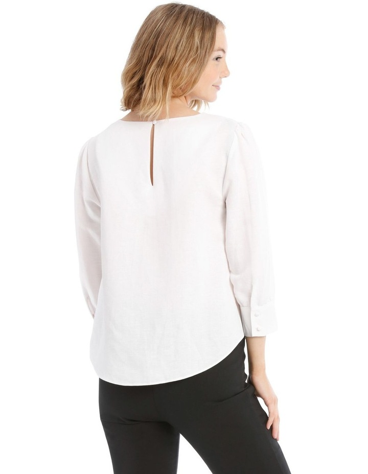 Linen Puff Sleeve Top - White image 3