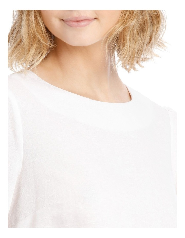 Linen Puff Sleeve Top - White image 4