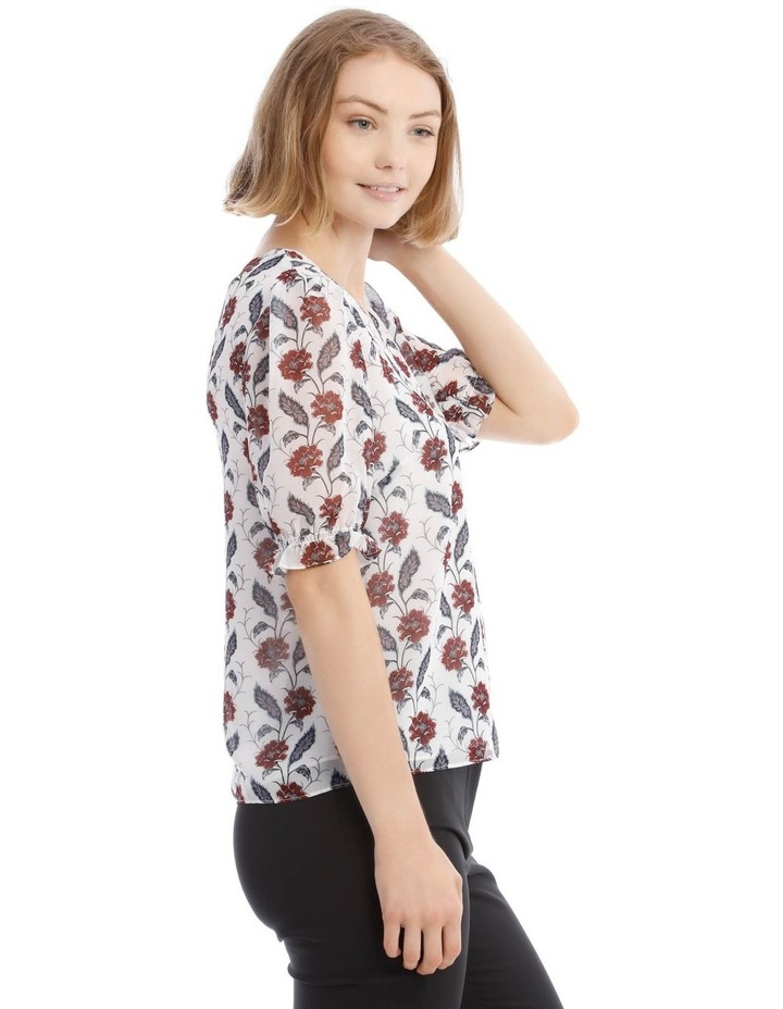 Button Front Shirred Sleeve Top image 2