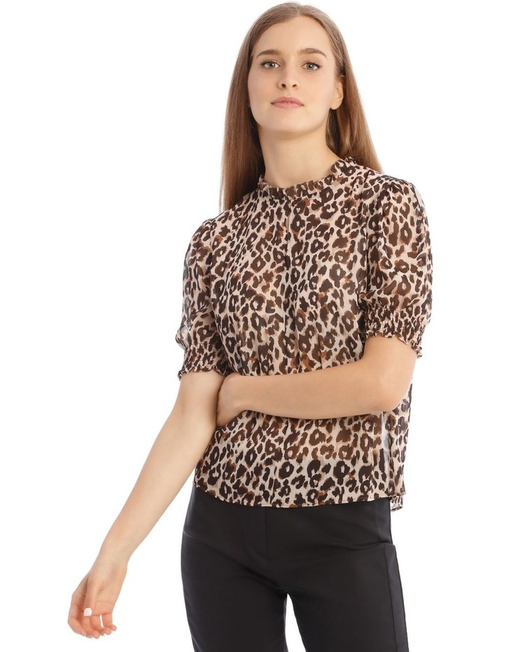 Shirred Sleeve Frill Neck Top image 1