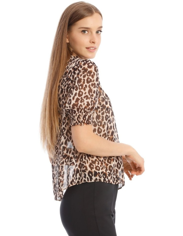 Shirred Sleeve Frill Neck Top image 2