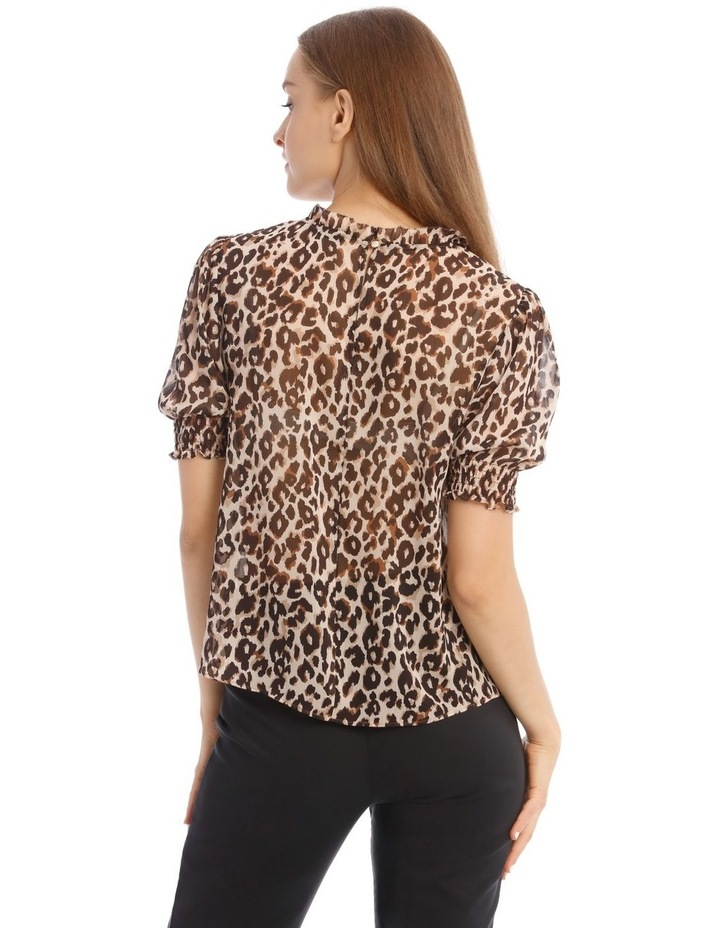 Shirred Sleeve Frill Neck Top image 3