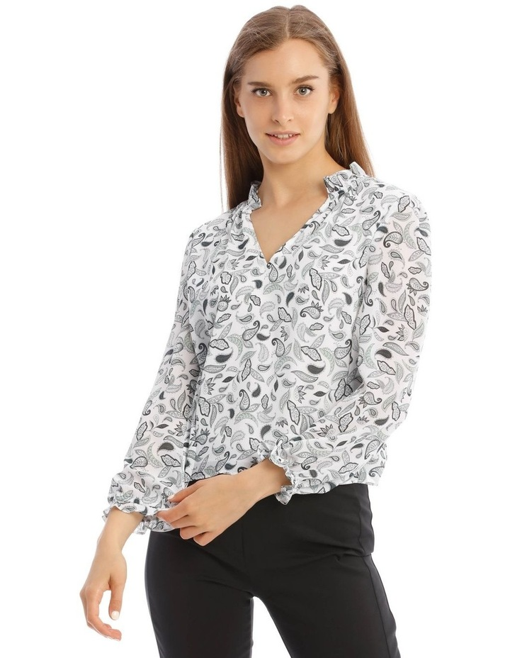 Long Sleeve Frill Vee Neck Top image 1