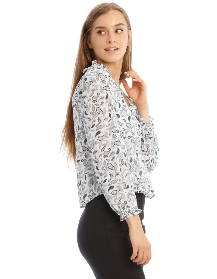 Long Sleeve Frill Vee Neck Top image 2