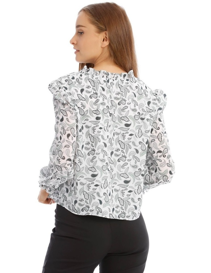 Long Sleeve Frill Vee Neck Top image 3