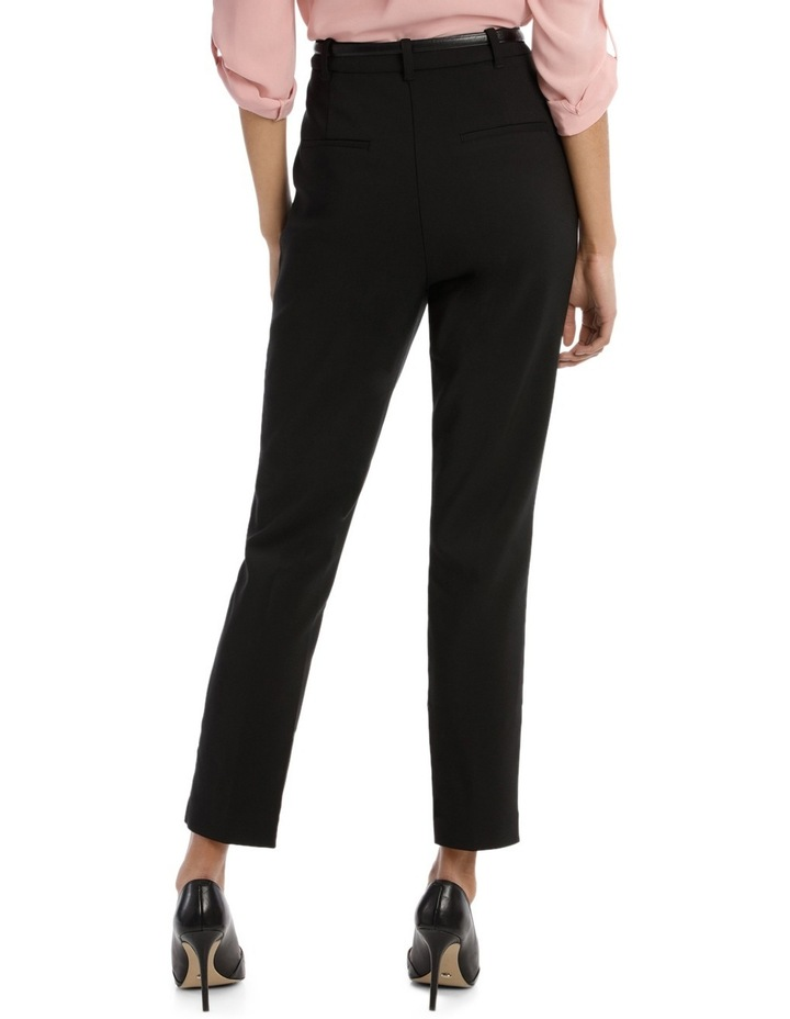 Straight Leg Belted Pant - Black image 3