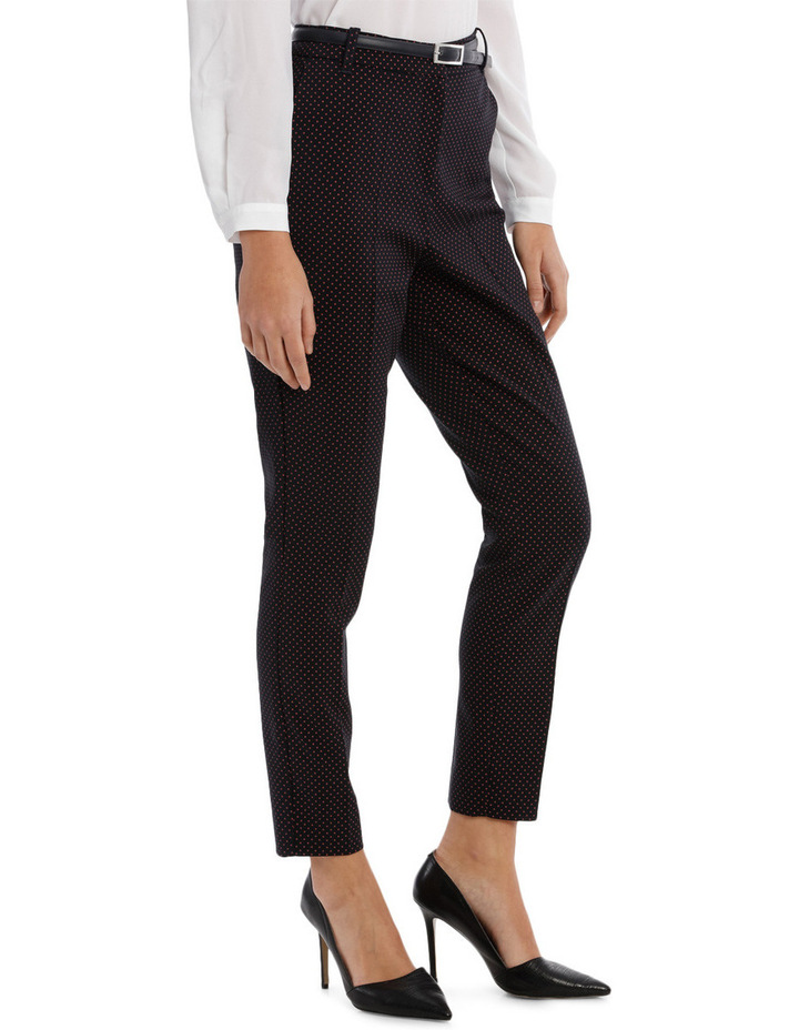 Straight Leg Belted Pant - Red Micro Spot image 2