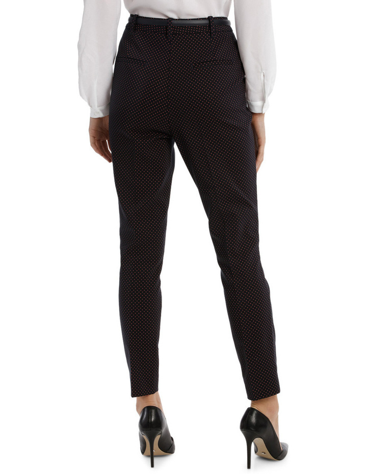 Straight Leg Belted Pant - Red Micro Spot image 3