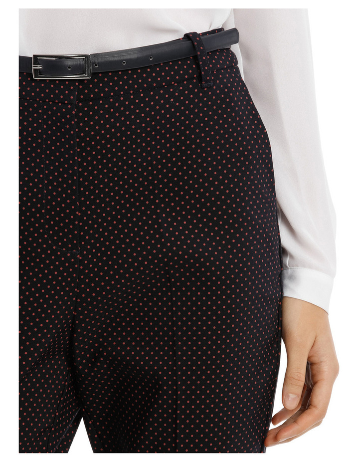 Straight Leg Belted Pant - Red Micro Spot image 4