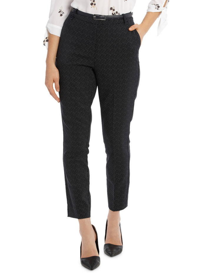 Straight Leg Belted Pant - Scattered Dot image 1
