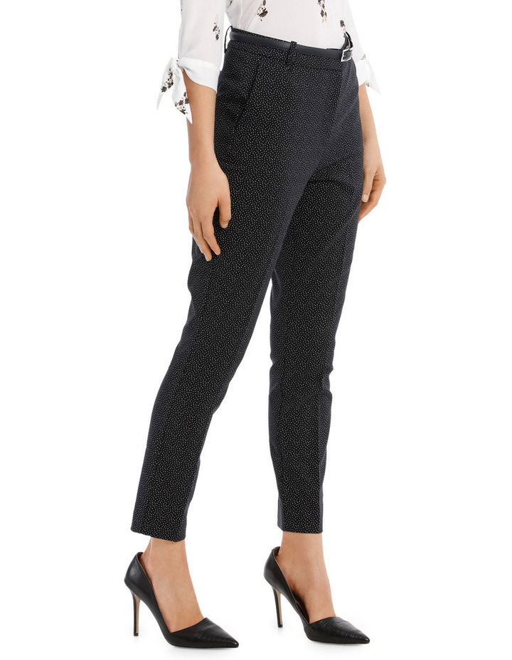 Straight Leg Belted Pant - Scattered Dot image 2