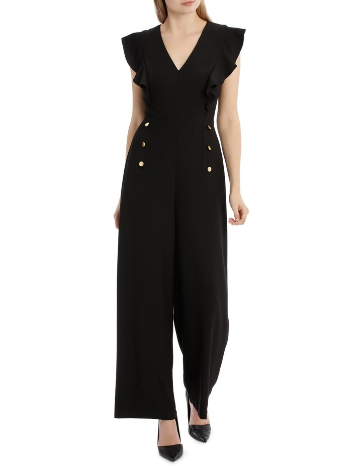 Button Front Flutter Sleeve Jumpsuit image 1