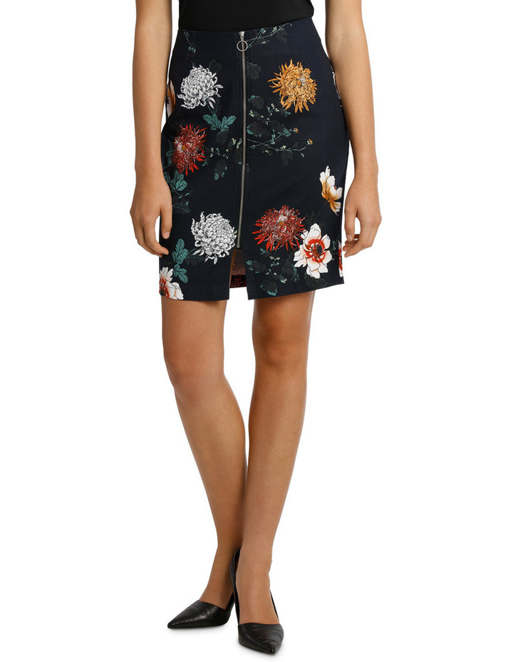 Zip Front Textured Pencil Skirt - Imperial Floral image 1