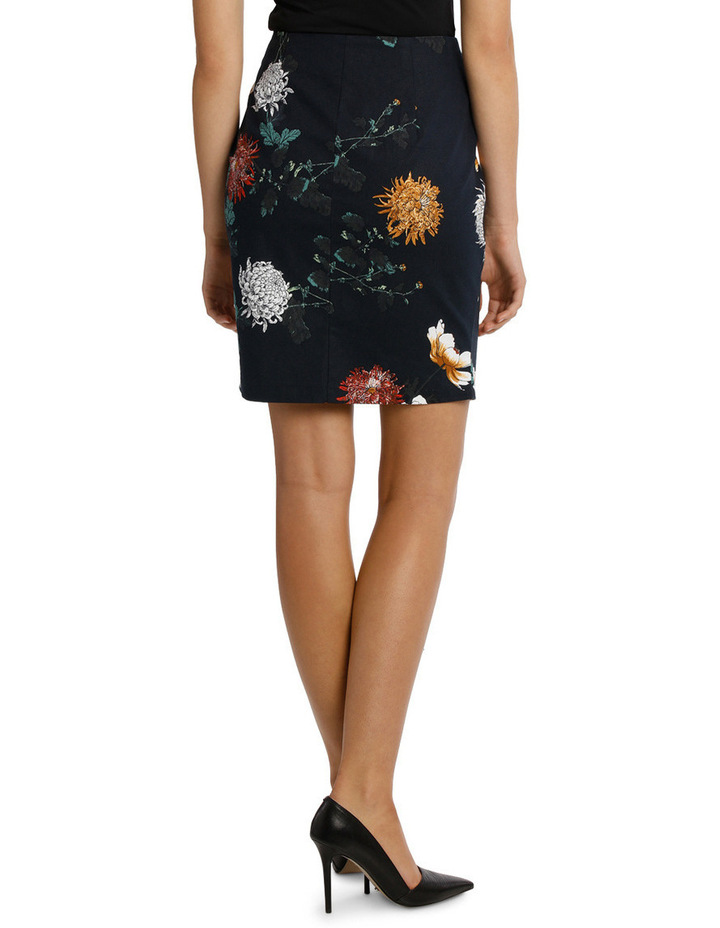 Zip Front Textured Pencil Skirt - Imperial Floral image 3