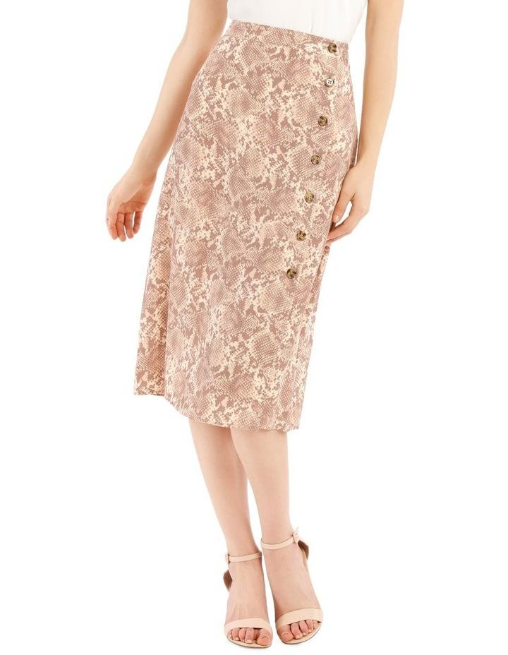 Button Up Midi Skirt - Snake Print image 1
