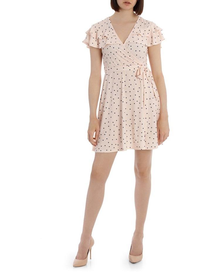 Frill Front Knit Mock Wrap Dress image 1