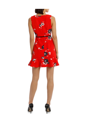 Tokito Petites - Work Ruffle Skirt Dress With Belt