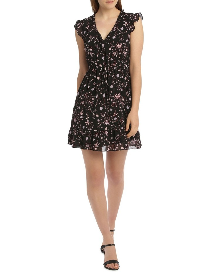Crinckle Chiffon Draw Waist Dress - Spaced Tropical image 1