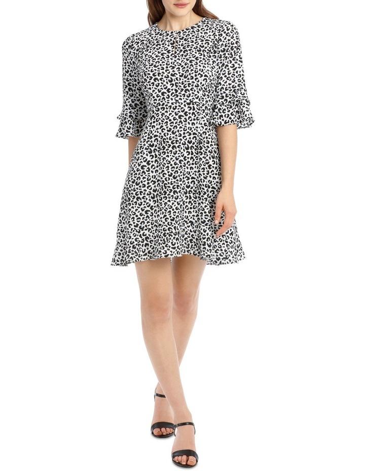 Frill Sleeve Skater Dress - Ocelot image 1