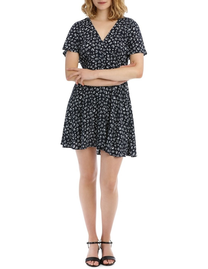 Cross Front Fit And Flare Dress - Rose Ditsy image 1