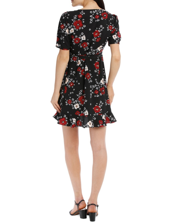 puff sleeve wrap dress - animal floral image 3