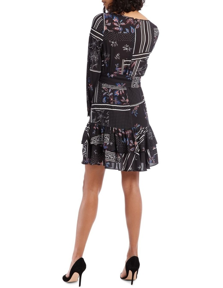 Scarf Printed Double Frill Skirt Dress image 3