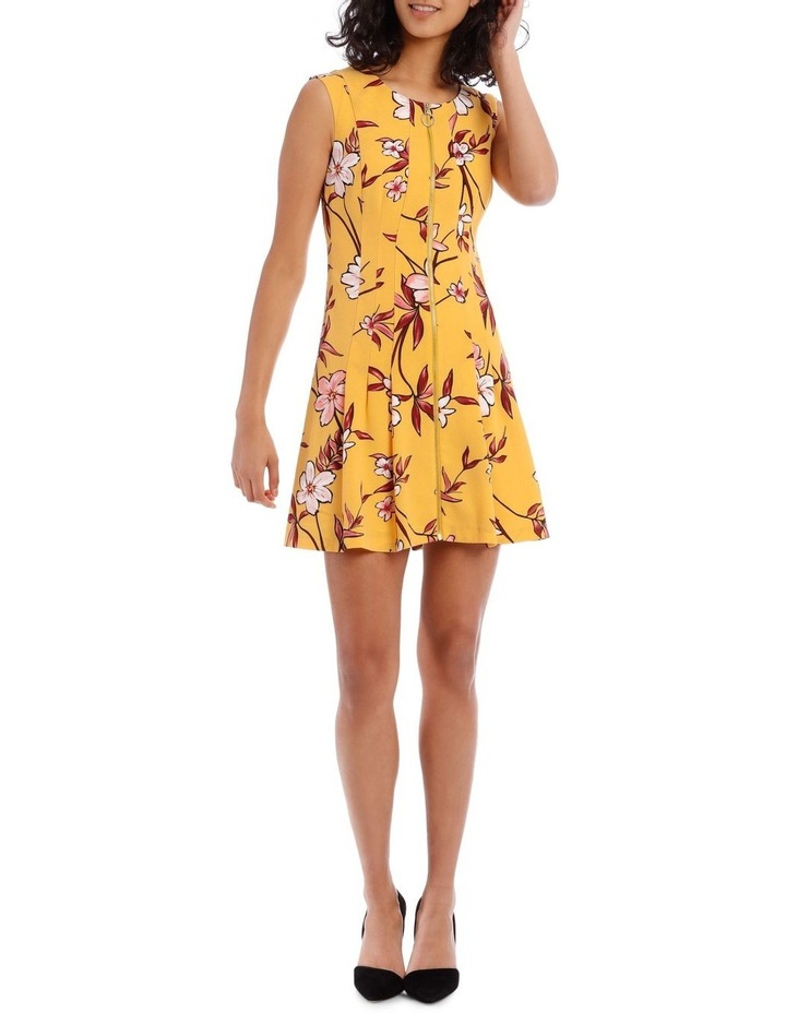 Yellow Zip Front Flippy Floral Dress image 1
