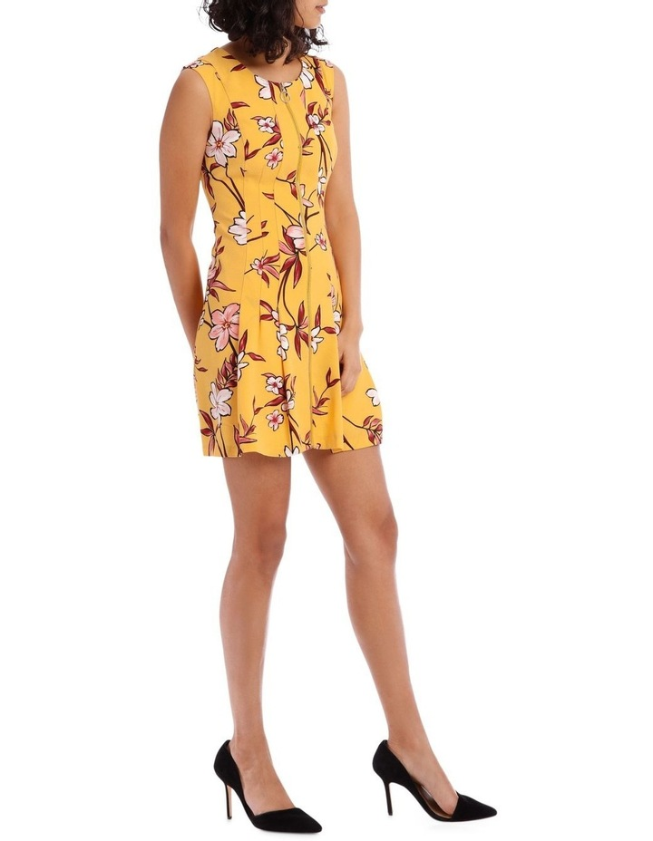 Yellow Zip Front Flippy Floral Dress image 2