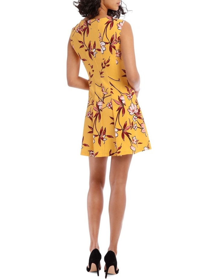 Yellow Zip Front Flippy Floral Dress image 3