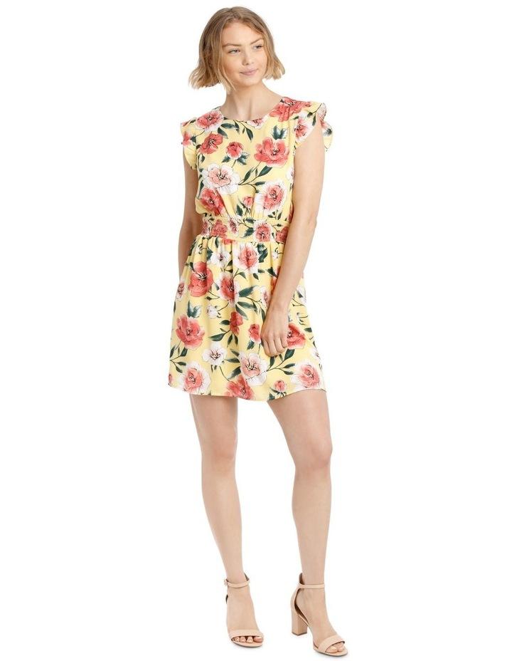 Shirred Waist Flutter Sleeve Dress image 2