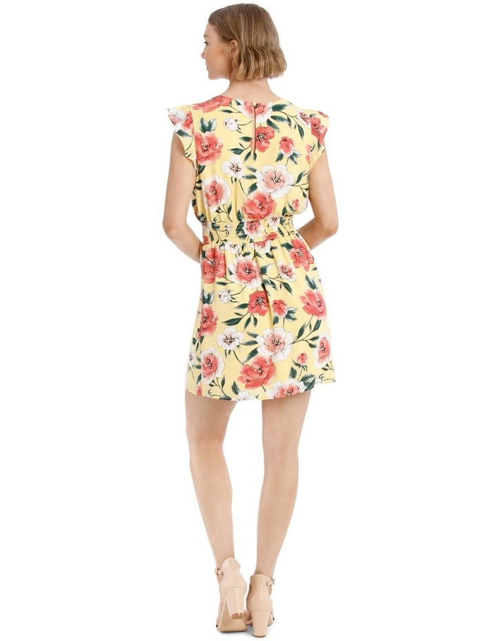 Shirred Waist Flutter Sleeve Dress image 3