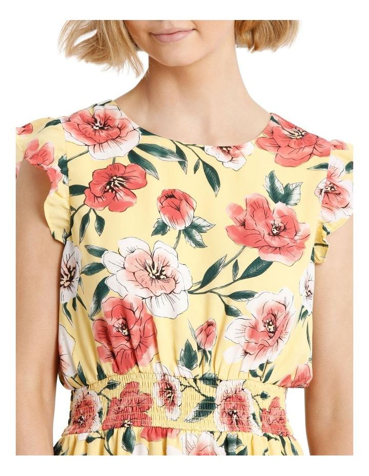 Shirred Waist Flutter Sleeve Dress image 4
