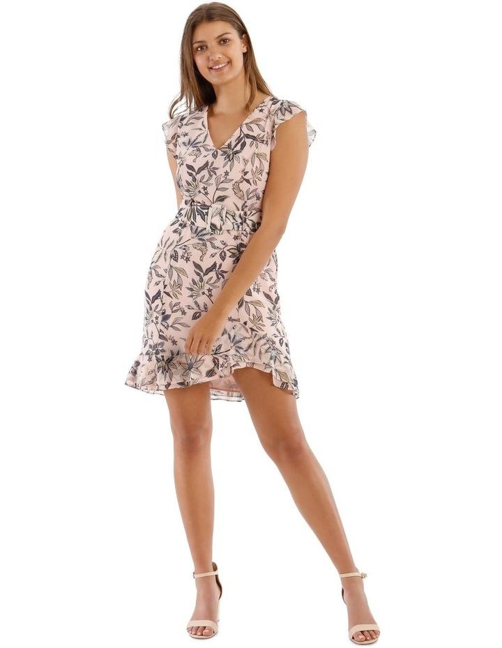 Peach Belted Ruffle Dress image 1