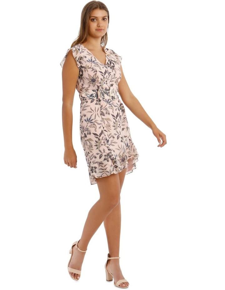 Peach Belted Ruffle Dress image 2