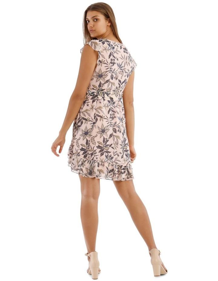 Peach Belted Ruffle Dress image 3