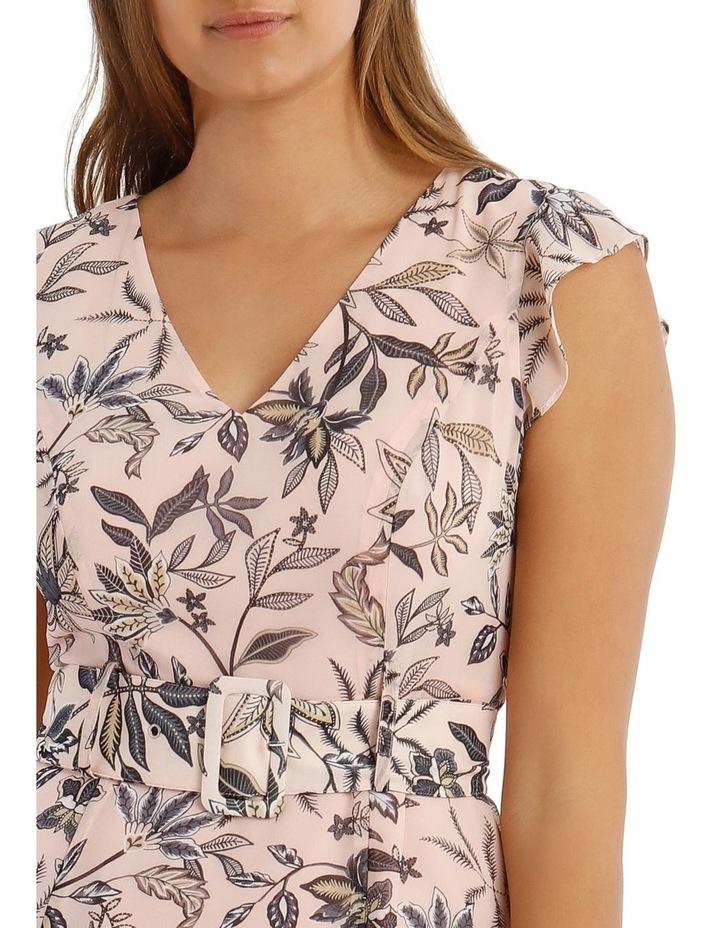 Peach Belted Ruffle Dress image 4